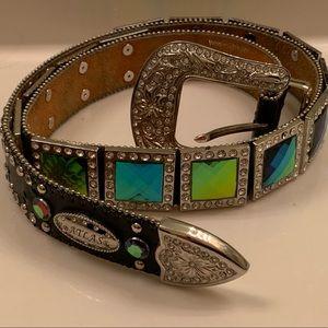 Black western leather aqua green crystal  belt